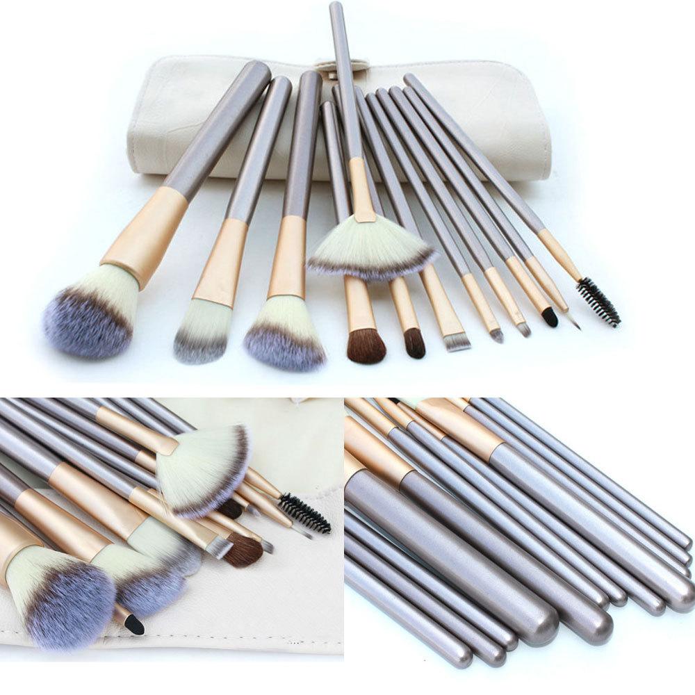 New Fashion 12PCS Professional Makeup Cosmetic Brush Set Eyeliner Eye Shadow Lip Brushes Make Up Bag(China (Mainland))