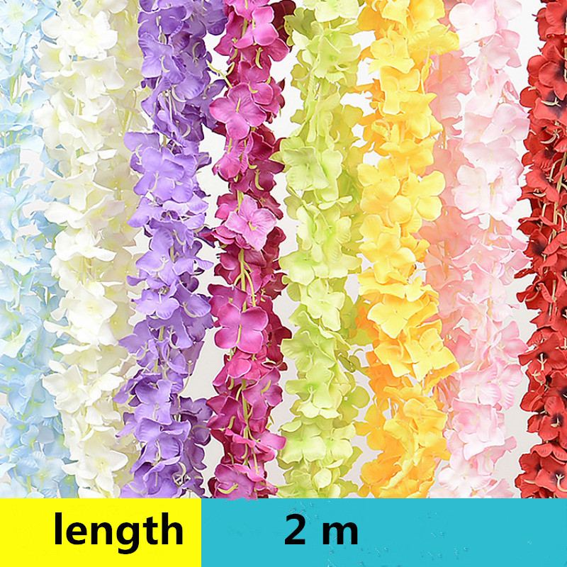 200cm Length Wisteria Vine Flower Decoration Marriage Flower Rattan Artificial Flowers Wedding Decoration Plastic Silk Flower(China (Mainland))