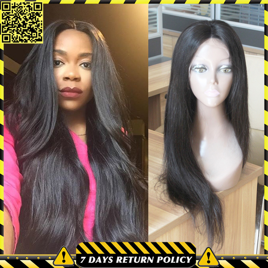 Купить Волосы и аксессуары  7A Full Lace Human Hair Straight Wigs Brazilian Silky Straight Full Lace Wig Cheap Glueless Full Lace Front Wigs For Black Women None
