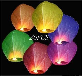 Free Shipping Romantic Chineses Kongming Lantern Flying Sky Lantern Wishing Lamp Wedding Party Lights(10pcs/lots)