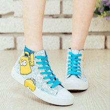 Fashion Women shoes high canvas shoes lace-up World Cup in Brazil Simpson mascot platform shoes for women Cartoon Shoes F0015