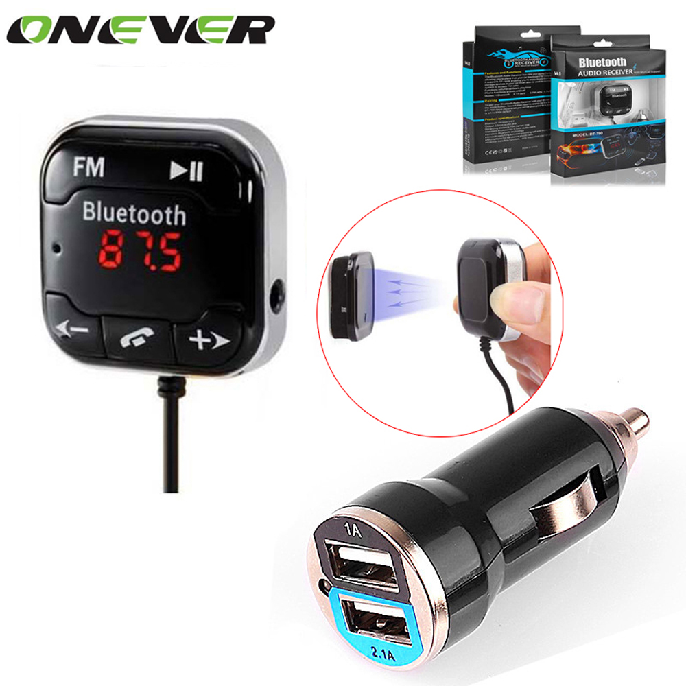 Car Kit Wireless Bluetooth FM Transmitter MP3 Player 3.5mm Audio AUX TF card Slots + Dual USB Car Charger +Magnetic sticker(China (Mainland))
