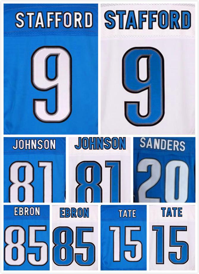 Cosido 20 Barry Sanders 81 Calvin Johnson Jerseys #9 Matthew Stafford 15 Oro Tate 85 Eric Hebrón Jerseys de la Élite(China (Mainland))