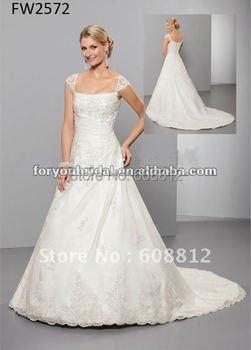FW2572 Floor Length Organza Lace Cap Sleeve Wedding Dresses
