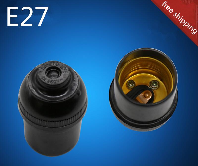 24pcs/lot E27 bakelite lamp holder 32.5MM E27 black lamp socket free shipping(China (Mainland))