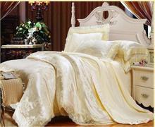 Beige 4pcs Luxury Jacquard Lace bedding set(duvet cover+flat sheet+pillowcase)100% cottonTencel modal king queen embroidered set(China (Mainland))