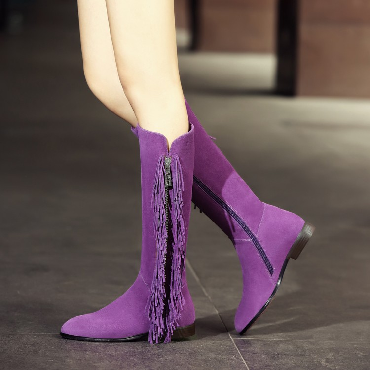 station in autumn and winter 2015 new matte leather boots female Korean flat fringed boots flat with high boots
