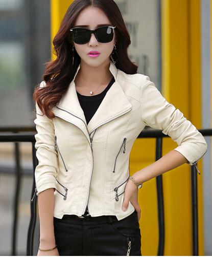 2016 Autumn Spring Ladies Clothing Short Fashion Leather Jacket Ladies Slim Motorcycle Jacket Leather Clothing Woman LZH01(China (Mainland))