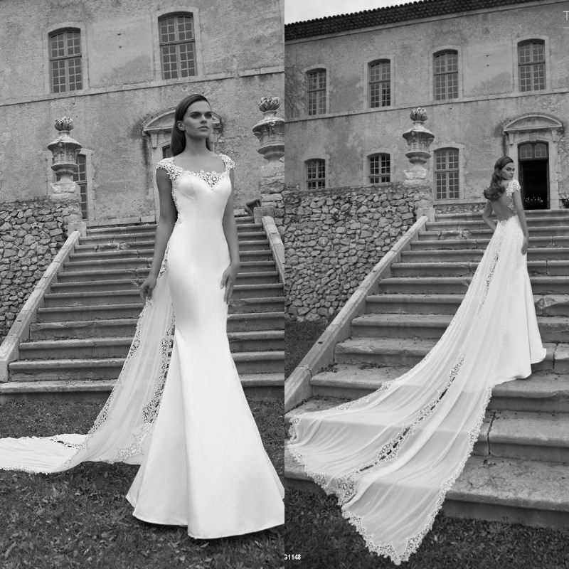 Beach 2016 New Arriva Wedding Dresses Sweetheart Floor Length Chapel Train Lace Chiffon Backless Bridal Gown EM04968(China (Mainland))