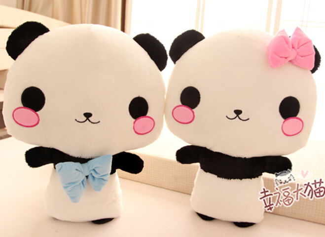 Gift for baby 1pc 50cm couple bowknot cute panda plush hold doll pillow cushion novelty children kids girl birthday stuffed toy(China (Mainland))