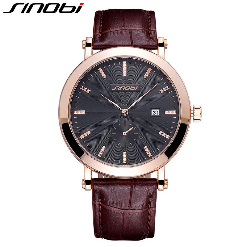 SINOBI Woman Date Rose Gold Coffee Leather Strap Watches Women Fashion Business Dress Quartz Watch Clock Lady relogio feminino<br><br>Aliexpress