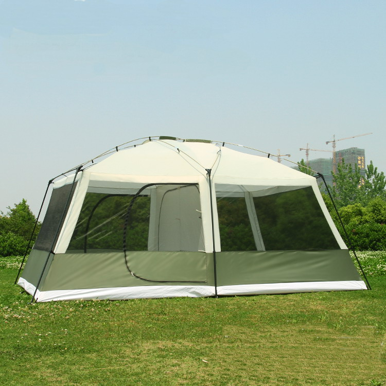 2017 on sale 6 8 10 12 person 2 bedrooms 1 living room awning sun shelter party family hiking beach fishing outdoor camping tent(China (Mainland))