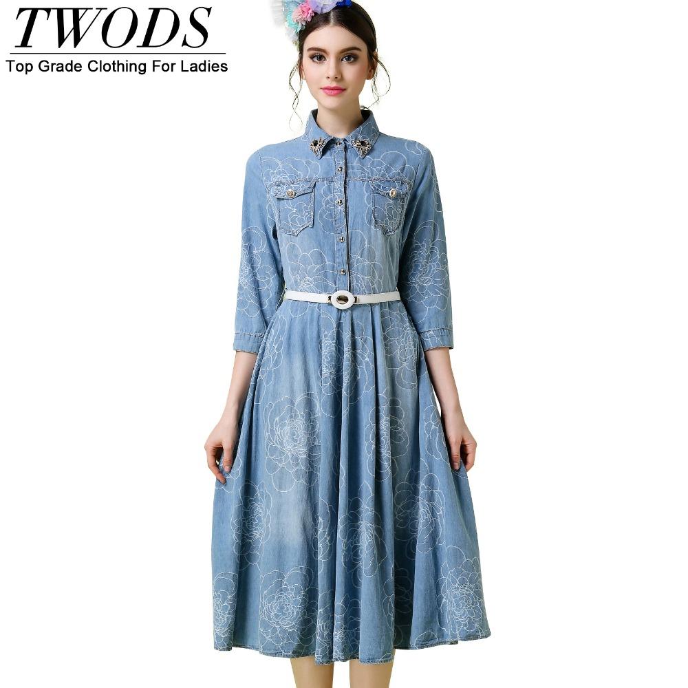 Twods S- 5XL Vintage Jacquard Women Denim Dress 34/ Sleeve Turn Down Collar In Spider Lapel Pin Slim Fit Belts Flare Midi Dress