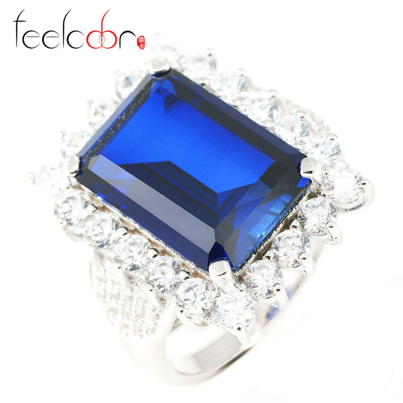 Luxury Dazzling 11.51ct High Quality Blue Sapphire Ring Emerald Cut Wedding Fashion Set For Women 925 Solid Sterling Silver<br><br>Aliexpress