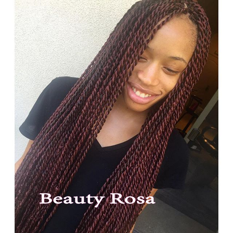 Senegalese twist braids lace front wig #99J dark wine color synthetic ...