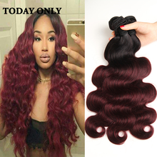 Buy Ombre Brazilian Hair Weave Bundles 1b 99j Burgundy Brazilian Virgin Hair Body Wave Hot Sale Brazilian Body Wave Human Hair HJ for $45.50 in AliExpress store