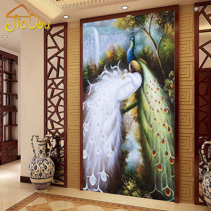 Online get cheap peacock wall murals for Cheap wallpaper mural