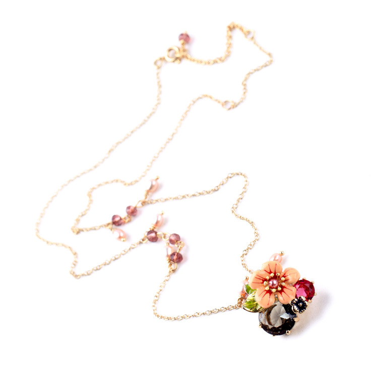 Cabinet Cute Boutique Necklace Flower Pendants Long Gold Plated Brisk For Women Trendy Shijie Brand Jewelry(China (Mainland))