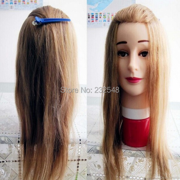 On Sale Hairdressing Teaching Activities 80% Real Natural Hair The Mannequin Head Doll Head Dummy's Head with Clamp(China (Mainland))