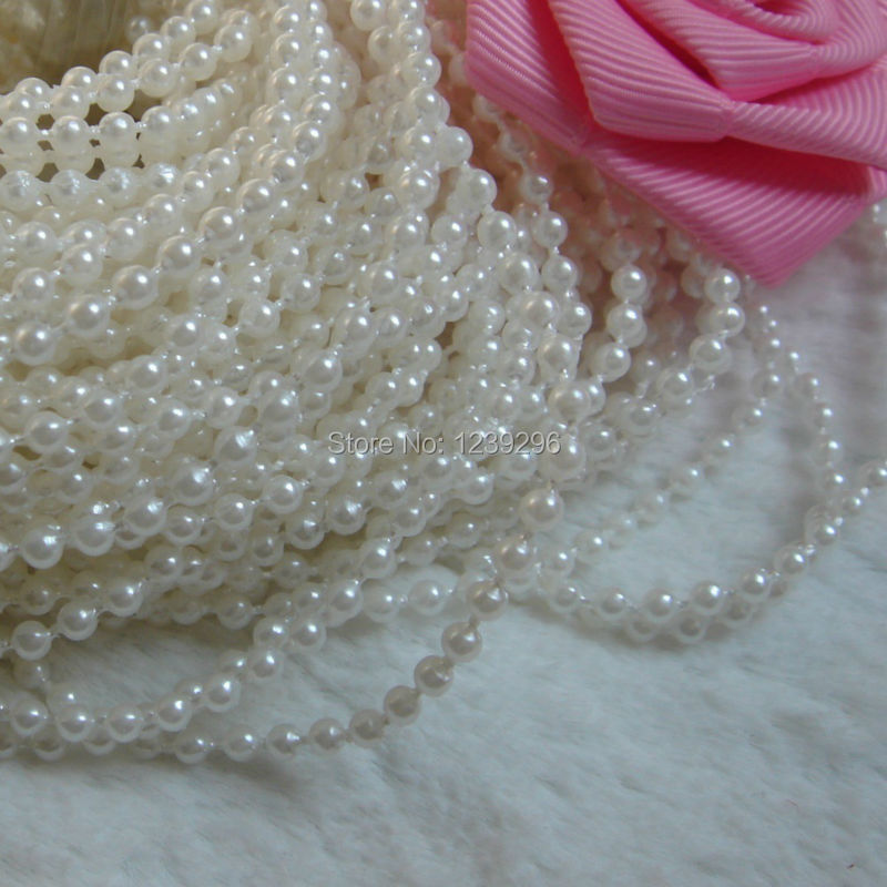 Factory Sale3MM/4mm/8mm Ivory Color Much Shiny Fused String Garland Pearl Beads Fixed Bead Trim Favor Craft Decoration(China (Mainland))