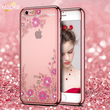 KISSCASE Luxury Rhinestone Soft TPU Case For iPhone 7 6 6s Plus 5 5s SE Samsung Galaxy S6 S7 Edge S8 S8 Plus Diamond Cases Cover(China (Mainland))