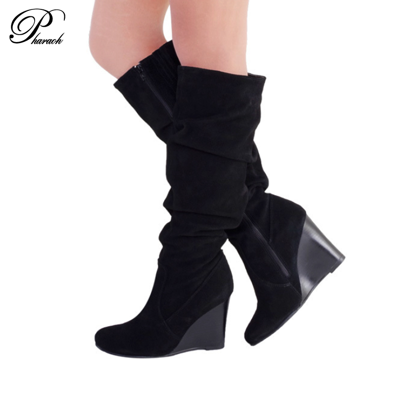 Fashion pleated genuine leather knee high boots women for autumn high heel shoes woman ladies wedges boots(China (Mainland))
