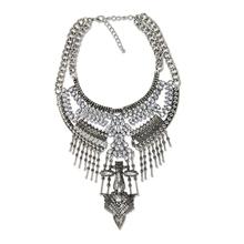 Graceful Maxi Colar Collar Traje de Las Mujeres Accesorios Vintage de Cristal Con Incrustaciones de Metal Colgante Collar de la Declaración Al Por Mayor NK375