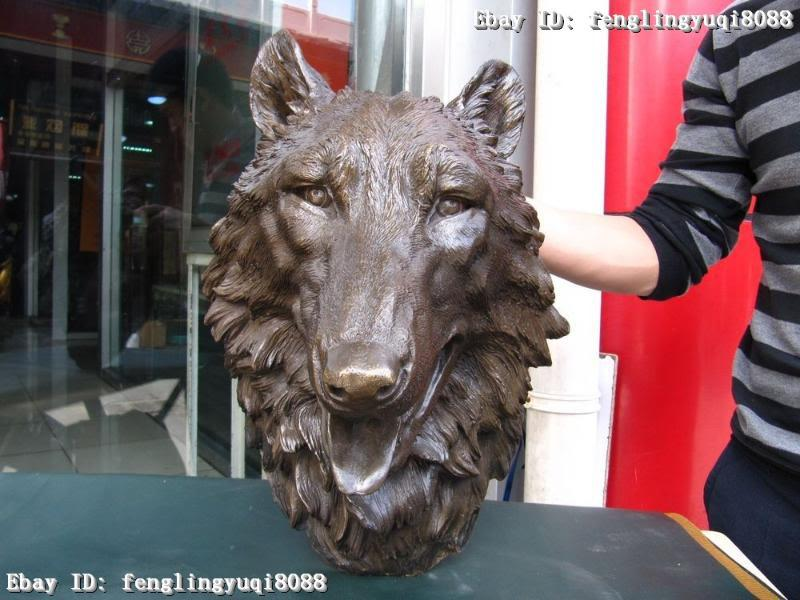 """18"""" China Pure Bronze refined Carved ferocity wolf Head Statue Sculpture(China (Mainland))"""