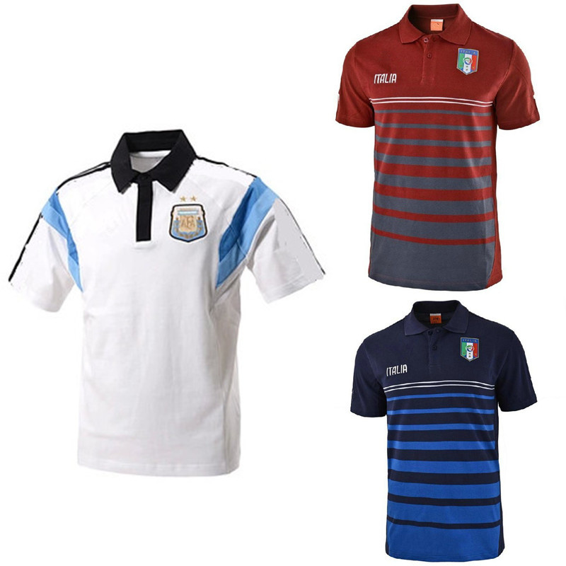 Top thai quality 2015 Argentina white polo shirt MESSI T shirt Italy blue soccer polo Italia red training polo PIRLO jersey(China (Mainland))