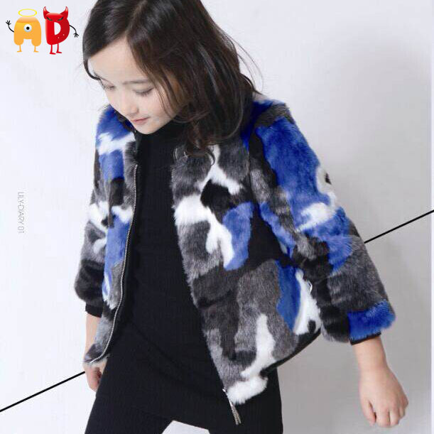 AD Girls Faux Fur Coat Age 2-10 Children Fashion Thick Trenches Kids Camouflage Winter Autumn Jacket Nova Warm Clothes Clothing - Angel vs Devil store