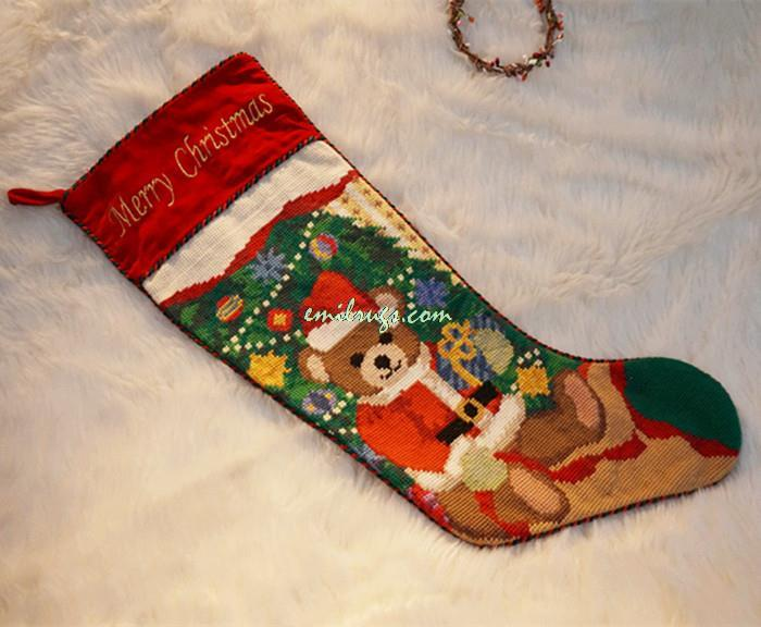 "2014 Real Cristmas Decoration ""miumiu Fabric"" Christmas Decorations Europe Or King Size Candy Bag Gift Needlepoint Wool Socks(China (Mainland))"
