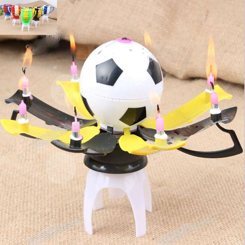 Free Delivery 2015 high-quality birthday candles romantic music candle candle cup football color automatic blossom candle(China (Mainland))