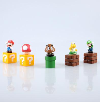 "MY super mario bros goomba luigi 2"" figure toy lot 5 SM1(China (Mainland))"