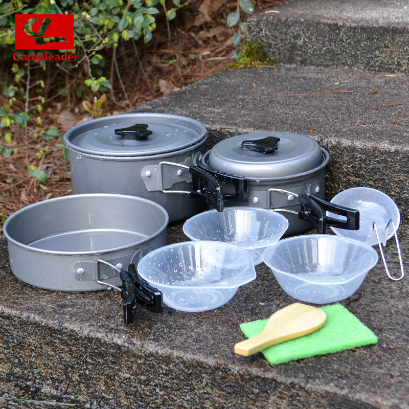 2016 Campleader 2-3 Person Non-stick Picnic Pot And Pan Camping Pot Sets Outdoor Folding Cookware 9 in 1 sets for outdoor Picnic(China (Mainland))