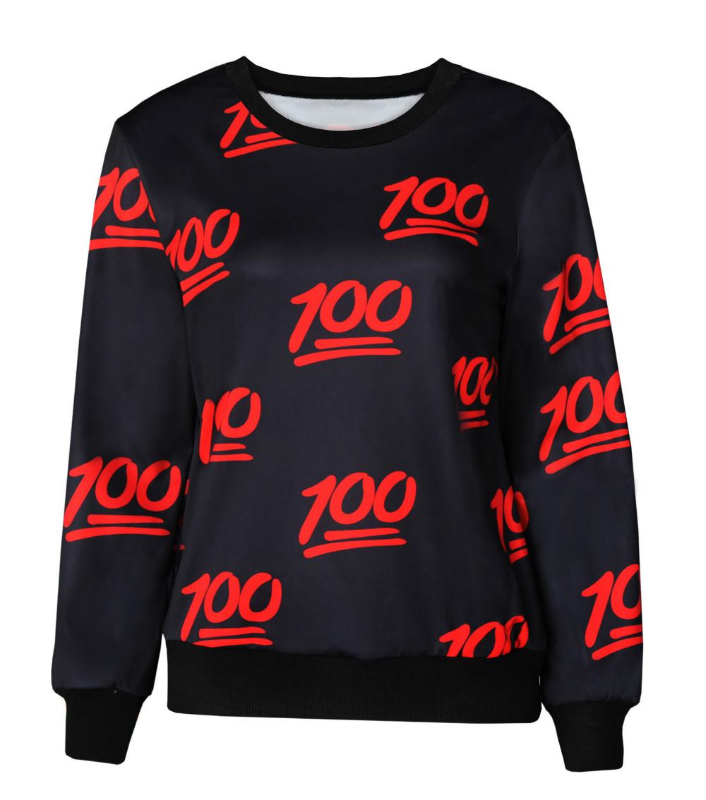 2015 Hot Harajuku Women Men Pullover 3D Digital Emoji Print Sportswear Tops 100 Points Printed Sweatshirt Free Shipping(China (Mainland))