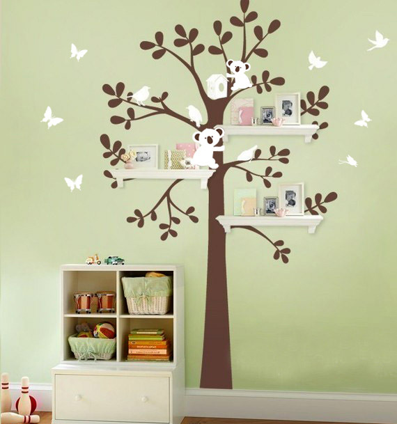 Wholesale New Design Large Size Wall Sticker 150x122cm Tree And Bear Wall Decal Home Decor Cartoon Nursery Baby Room 5pcs/lot(China (Mainland))