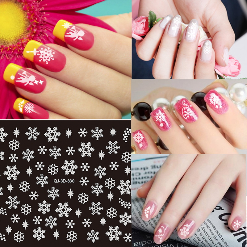 White Snow Flake Design 3D Nail Sticker Winter Style Christmas Angel Feather Pattern Nail Decal 10PCS/Lot(China (Mainland))