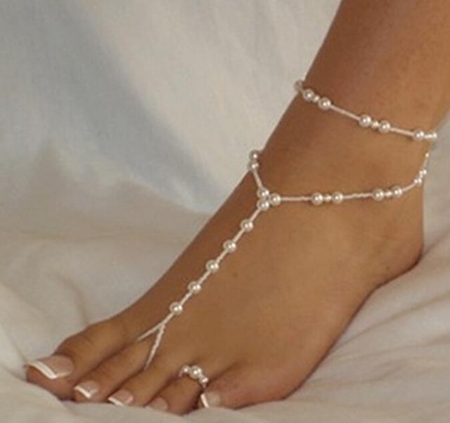 Летний стиль пляже имитация жемчужные украшения ног звено цепи ножные браслеты браслет ...