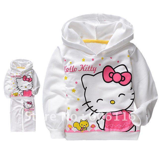 wholesale(5sets/lot) Children/Kids terry cotton Clothes girls hello kitty clothing sets with long sleeve hoody and a long pants(China (Mainland))