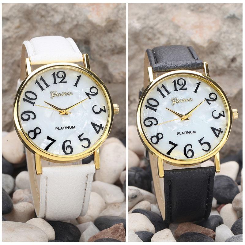 Jimshop Fashion Geneva Watches hot-selling Women Retro Digital Dial Leather Band Quartz Analog Wrist women dress watches - Store store