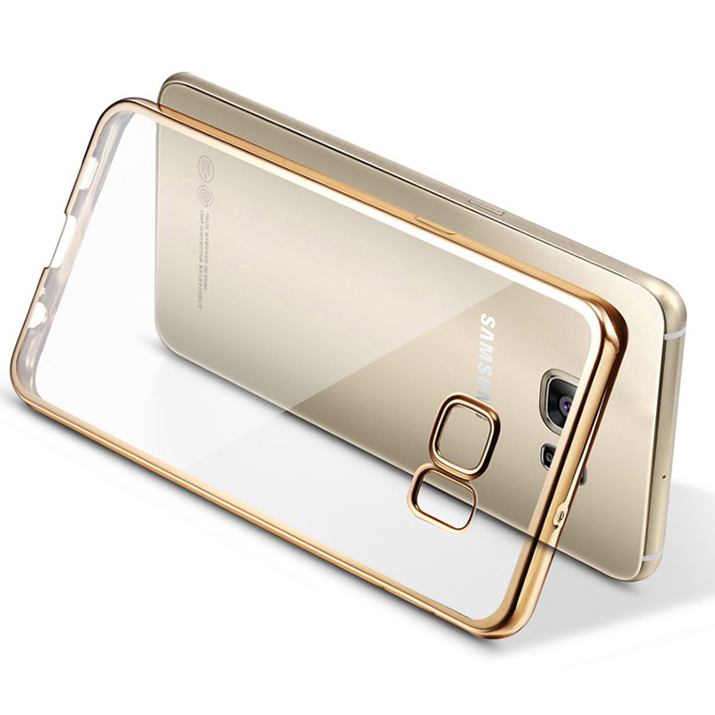S7Edge Ultra Slim Soft TPU Back Cover For Samsung Galaxy S7 Edge Clear Case Silicon Plating Protective Cases Luxury Mobile Phone(China (Mainland))