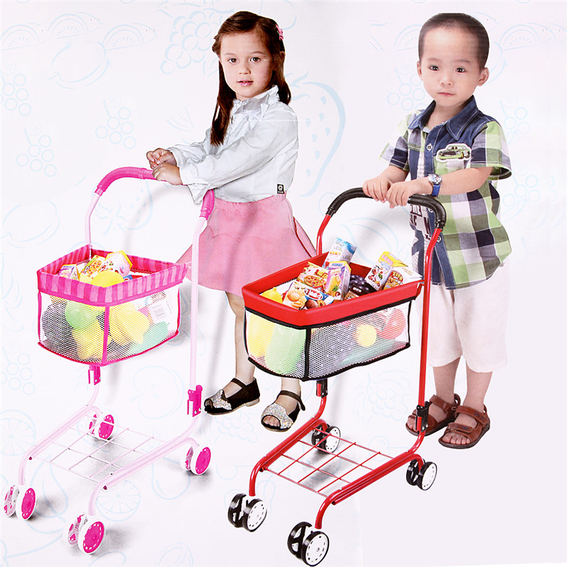 Iron Trolleys Pretend Play Toys Universal Simulation Fruits Vegetables Snacks Supermarket Shopping Cart(China (Mainland))