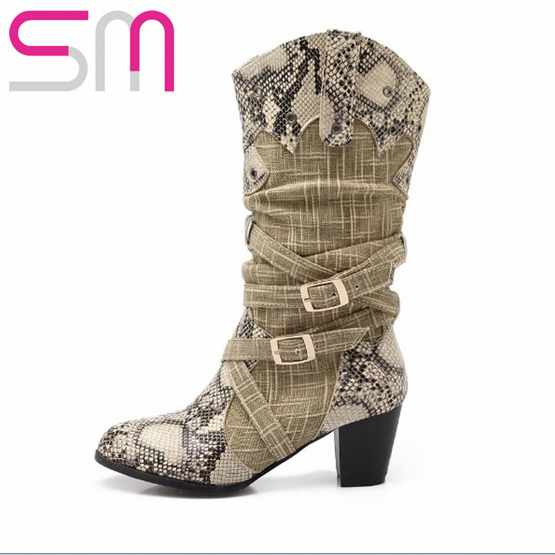 Sexy Snake Prints Patch Color Half Knee Boots 2015 Brand Western Style High Heels Spring Autumn Winter Boots Warm Winter Shoes<br><br>Aliexpress