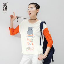 Buy Toyouth Long Sleeve T-shirt Women 2017Autumn New Arrival Contrast Color Hippo Cartoon Printed Character Casual Tops for $19.00 in AliExpress store