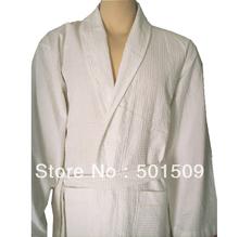 white 100% cotton waffle check Bathrobe, robes,  natural plus size eco-friendly  free shipping unisex women men summer