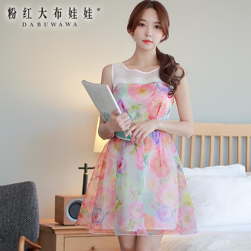 Dress Pink Doll New Spring and summer 2015 sleeveless lady big pendulum show thin gauze dress