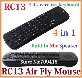 Free Shipping Measy RC13 2.4G Wireless Keyboard and Mouse Built-in Mic Speaker Remote Control for android Mini PC TV Palyer box