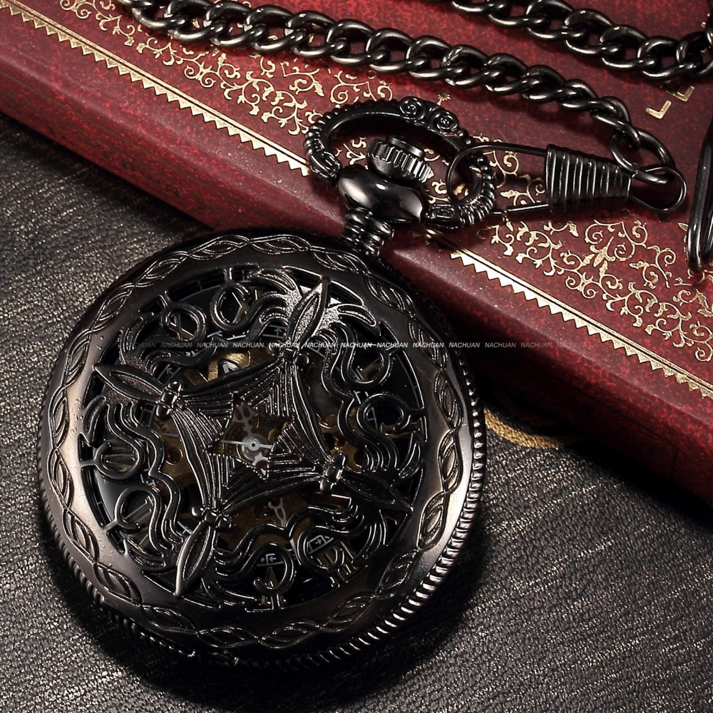 Steampunk Watch Skeleton Male Clock Mechanical Hand Wind Classic Copper Retro Vintage Gift Pendant Pocket Watch / WPK167(China (Mainland))