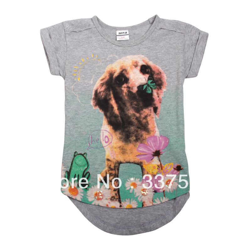 Nova kids wear new 2013 girls' fashion t shirts baby clothing printed lovely dog Asymmetric casual girls K3960