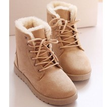 Nuevos botines llegada otoño invierno mujeres botas de cuero ocasionales de piel caliente botas de nieve talón plano moda mujer zapatos de invierno(China (Mainland))